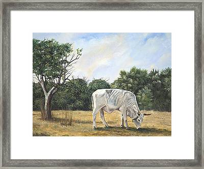 Framed Print featuring the painting Cow by AnnaJo Vahle
