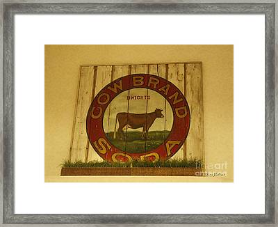 Cow Brand Soda Signe Framed Print by Yumi Johnson