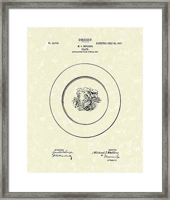 Cow Milking Plate Design 1907 Patent Art Framed Print