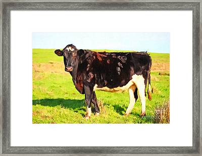 Cow Profile . Painterly Framed Print by Wingsdomain Art and Photography