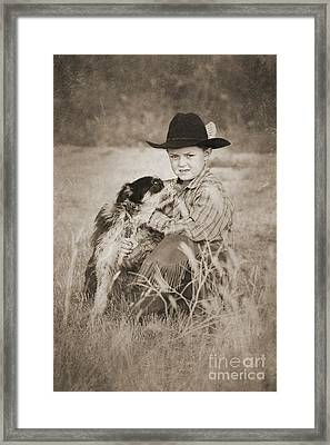 Cowboy And Dog Framed Print by Cindy Singleton
