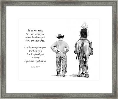 Cowboy And Rider With Bible Verse Framed Print by Joyce Geleynse