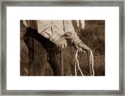 Cowboy Hands At Work Framed Print by Toni Hopper