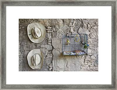 Framed Print featuring the photograph Cowboy Hats And Parakeets by Craig Lovell