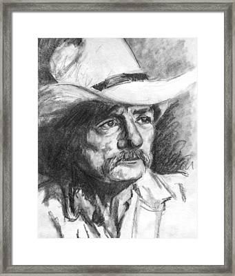 Cowboy In Hat Sketch Framed Print