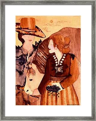 Cowboy Love Framed Print by Dede Shamel Davalos