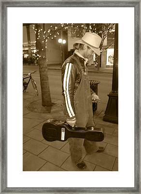 Cowboy Musician On Streets Framed Print by Kym Backland