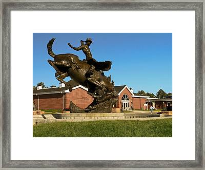 Cowboy Sculpture Framed Print by Sally Weigand