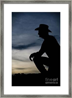 Cowboy Silhouette At Sunset Framed Print by Andre Babiak