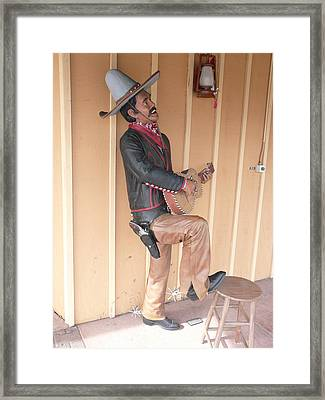Framed Print featuring the photograph Cowboy Statue by Mary M Collins
