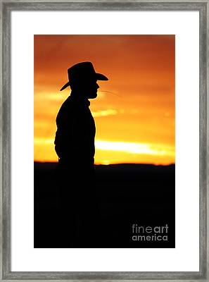 Cowboy Sunset Framed Print by Val Armstrong