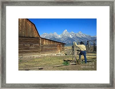 Cowboy With Grand Tetons Vista Framed Print by Karen Lee Ensley