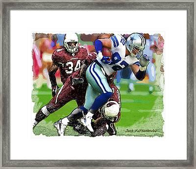 Cowboys Jason Witten Cardinals Tim Hightower Framed Print