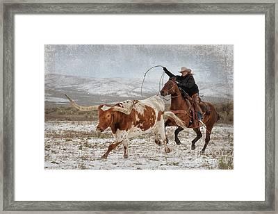 Cowgirl Roping Longhorn Framed Print