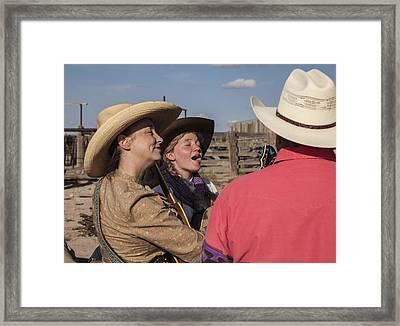 Cowgirl Serenading The Cowboys Framed Print by Ralph Brannan