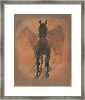 Cowponies In The Dust Framed Print by Elizabeth Lane