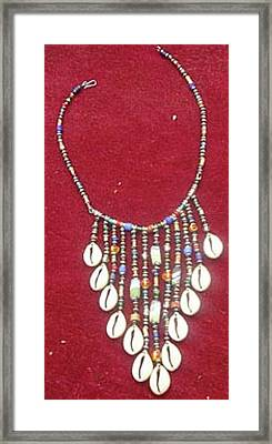 Cowrie Neg Lace Framed Print by Anjeh Ambroise