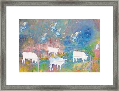 Cows And Birds Framed Print by Jeff Burgess