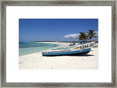 Framed Print featuring the photograph Cozumel Mexico Fishing Boats On White Sand Beach by Shawn O'Brien