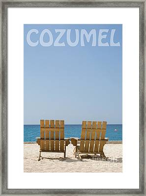 Framed Print featuring the photograph Cozumel Mexico Poster Design Beach Chairs And Blue Skies by Shawn O'Brien