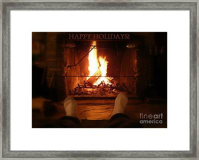 Cozy Cabin Holiday Card Framed Print by Carol Groenen