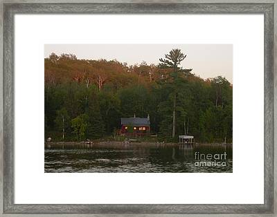 Cozy Cabin Sunset Soaked Framed Print