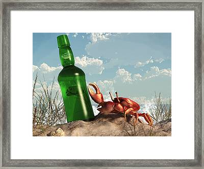Crab With Bottle On The Beach Framed Print