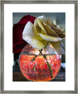Framed Print featuring the photograph Crackle Glass by Leslie Hunziker