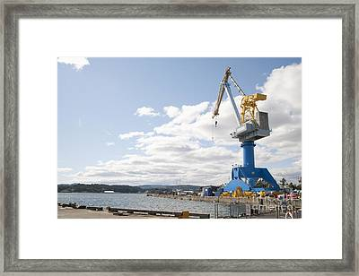 Crane At Shipyard Framed Print by Shannon Fagan
