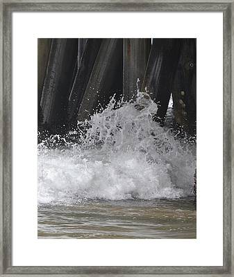 Crashing Below Shore Framed Print by Naomi Berhane