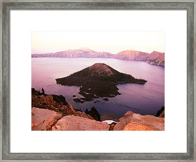 Crater Lake At Dusk Framed Print by Melissa  Maderos