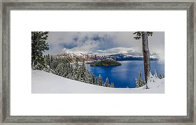 Crater Lake Panorama 1 Framed Print by Greg Nyquist