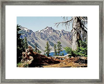Crater Lake Through Nature Framed Print by Mike Stone