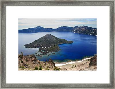 Crater Lake Wizard Island Framed Print by Pierre Leclerc Photography