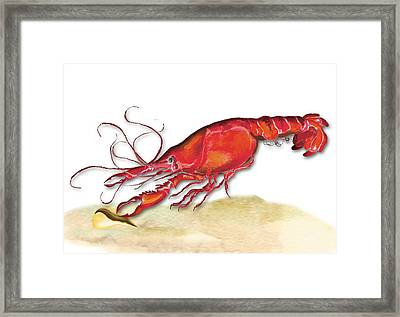 Framed Print featuring the painting Crawfish by Anne Beverley-Stamps