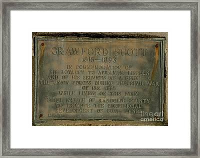 Crawford Scott Historical Marker Framed Print by Randy Bodkins