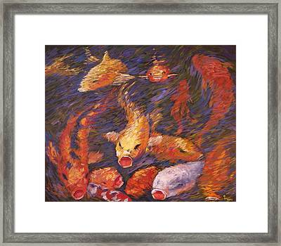 Framed Print featuring the painting Crazed Clear Creek Koi by Charles Munn