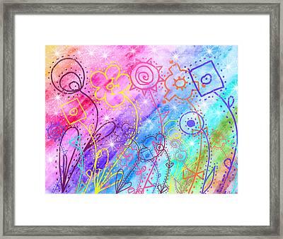Crazy Flower Garden Framed Print by Debbie Portwood