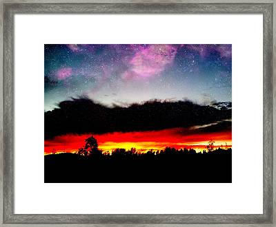 Crazy Sunset Framed Print by Raven Janush