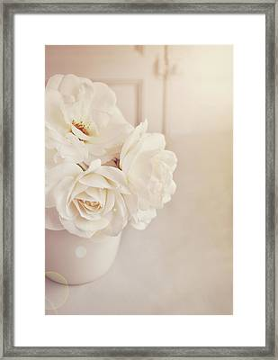Cream Roses In Vase Framed Print by Photo - Lyn Randle