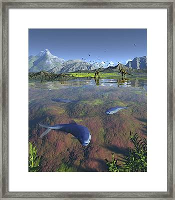 Creataceous Animals, Artwork Framed Print by Walter Myers