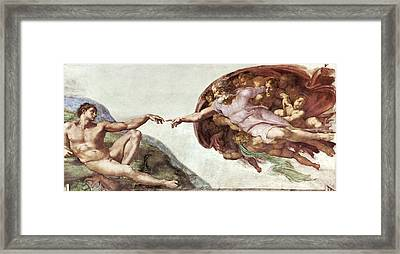 Creation Of Adam Framed Print by Sheila Terry