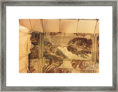 Creation Of Adam With Scaffolding Framed Print