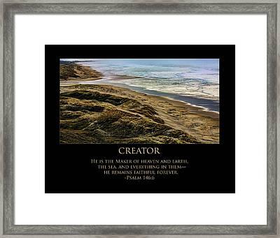 Creator Framed Print by Bonnie Bruno