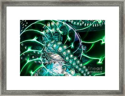 Creatures Of The Deep - Octopus Caught In The Swirl Of The Giant Nautilus - Electric - Cyan Framed Print by Wingsdomain Art and Photography