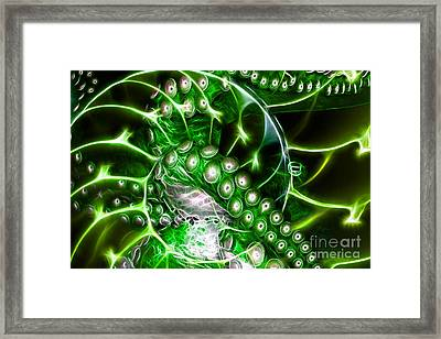 Creatures Of The Deep - Octopus Caught In The Swirl Of The Giant Nautilus - Electric - Green Framed Print by Wingsdomain Art and Photography