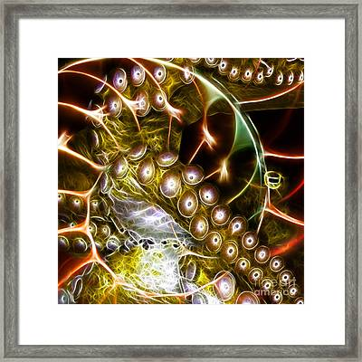 Creatures Of The Deep - Octopus Caught In The Swirl Of The Giant Nautilus - Electric - Square - Gold Framed Print by Wingsdomain Art and Photography
