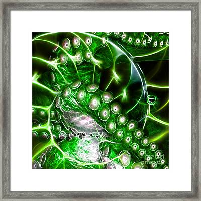 Creatures Of The Deep - Octopus Caught In The Swirl Of The Giant Nautilus - Electric - Square - Gree Framed Print by Wingsdomain Art and Photography