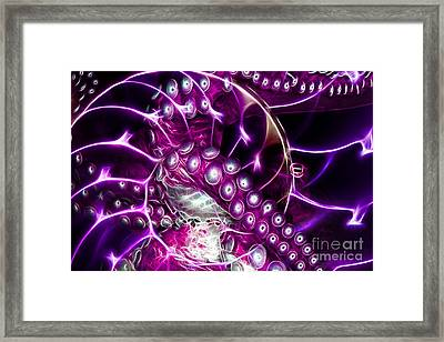 Creatures Of The Deep - Octopus Caught In The Swirl Of The Giant Nautilus - Electric - Violet Framed Print by Wingsdomain Art and Photography