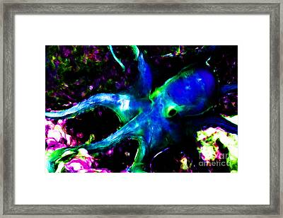 Creatures Of The Deep - The Octopus - V3 - Electric - Blue Framed Print by Wingsdomain Art and Photography